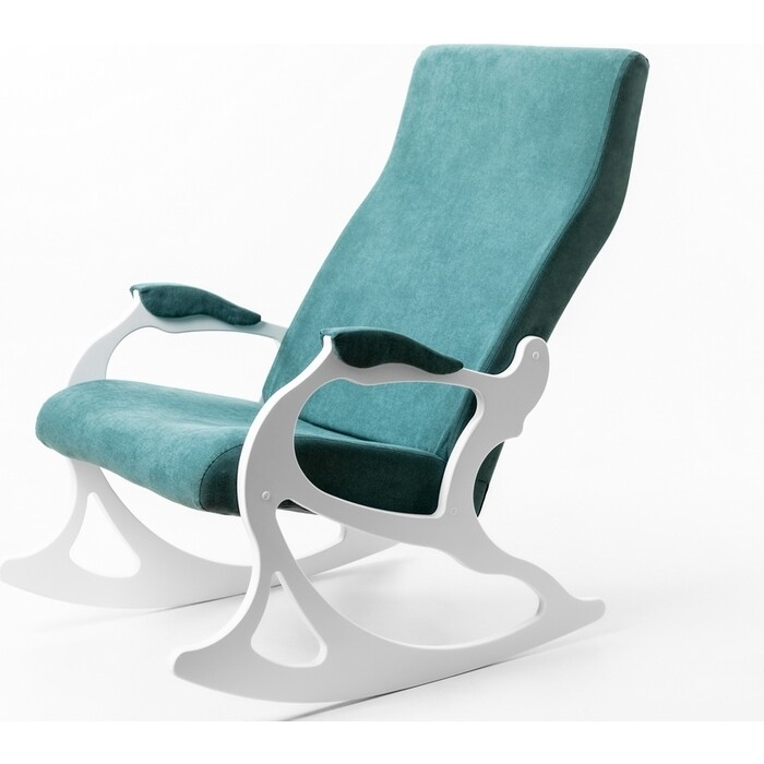 Кресло-качалка Мебелик Санторини ткань изумруд/каркас белый
