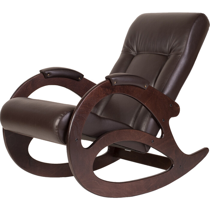 Кресло-качалка Мебелик Тенария 1 экокожа темно-коричневый/каркас темно-коричный