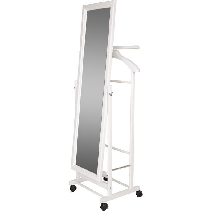 Вешалка костюмная с зеркалом на колесах Мебелик В 24 Н белый