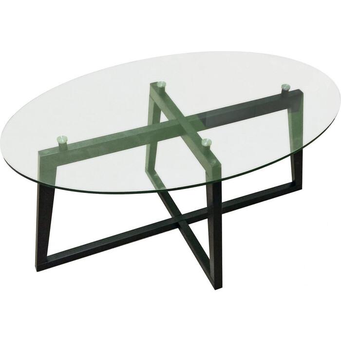 Стол журнальный Мебелик Престиж черный/стекло прозрачное