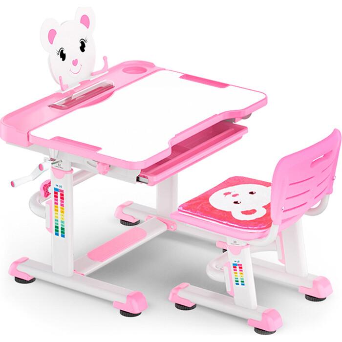 Комплект мебели (столик + стульчик) Mealux BD-04 New Teddy pink столешница белая/пластик розовый
