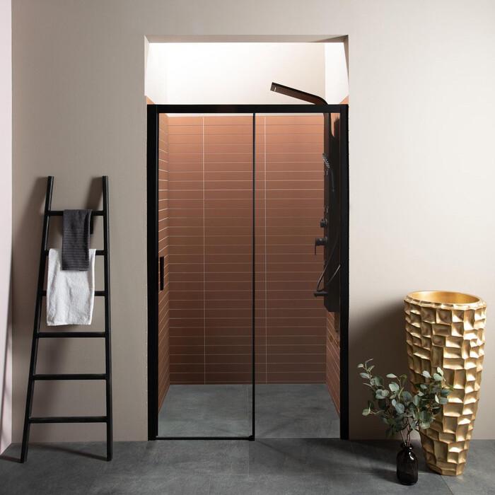 Душевая дверь Aquanet Pleasure 140 в нишу, профиль черный матовый, стекло прозрачное (AE60-N-140H200U-BT)