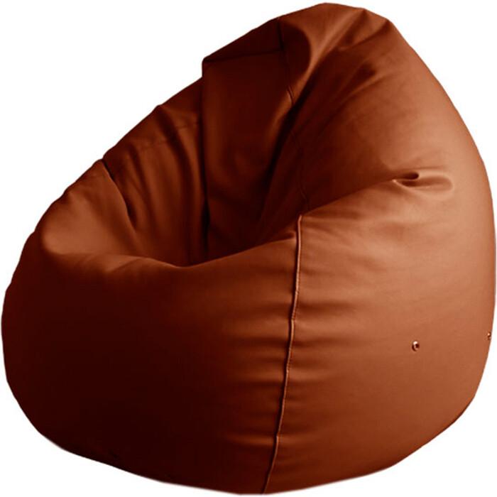 Кресло-мешок Папа Пуф Экокожа коричневый XXL 135x90