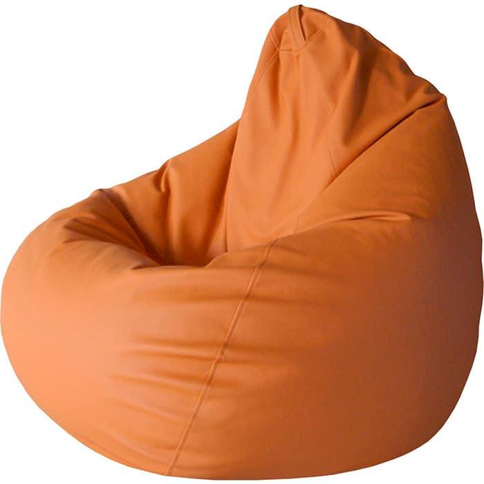 Кресло-мешок Папа Пуф Экокожа оранжевый XXL 135x90