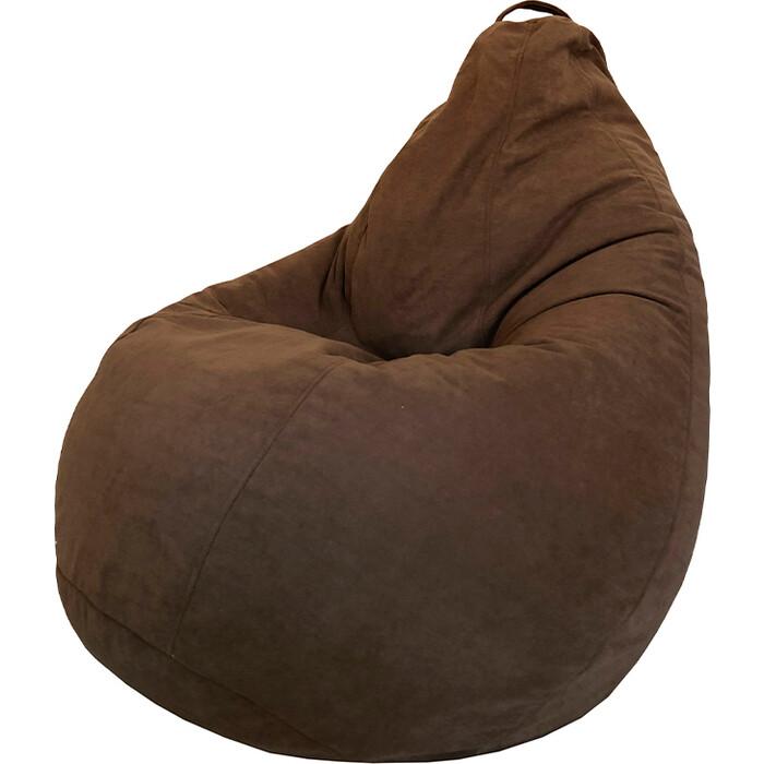 Кресло-мешок Папа Пуф Велюр коричневый XL 125x85