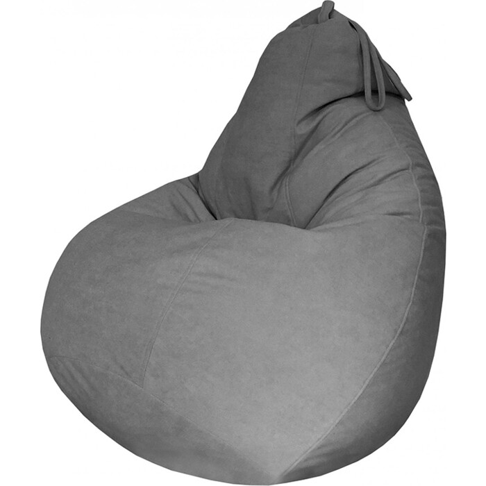 Кресло-мешок Папа Пуф Велюр серый XXL 135x90