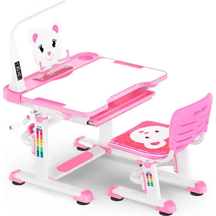 Mealux Комплект мебели (столик + стульчик ЛЭД лампа с индикатором) BD-04 Teddy pink столешница белая/пластик розовый