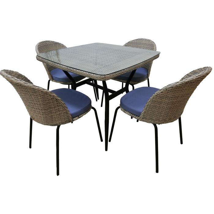 Набор мебели Garden story Эмилия с подушками T-542/Y-517 искусственный ротанг, стекло