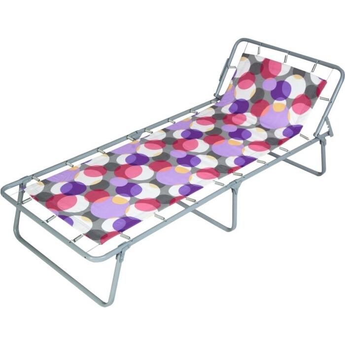 Кровать раскладная детская Ольса Юниор жесткая каркас антрацит, ткань разноцветные круги С 89