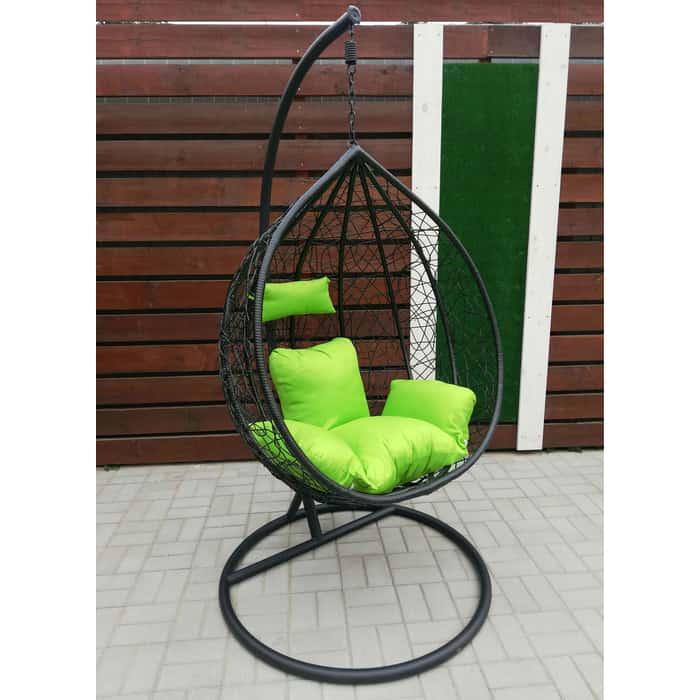 Подвесное кресло Garden story Сфера стойка черная/корзина черная/подушка зеленая N-908