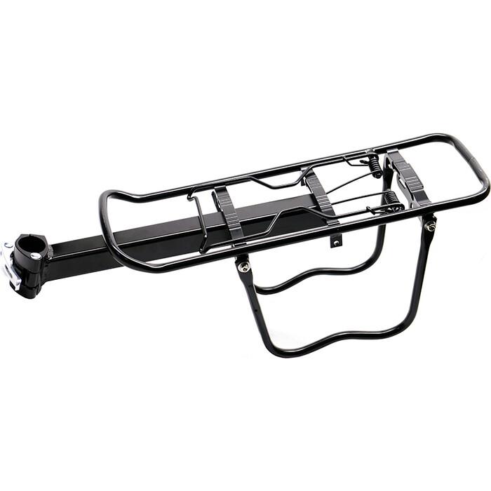 Велобагажник JOY KIE HX-Y675, консольный, крепление на подсед.трубу(штырь) алюминий, черный, с защитой для сумок