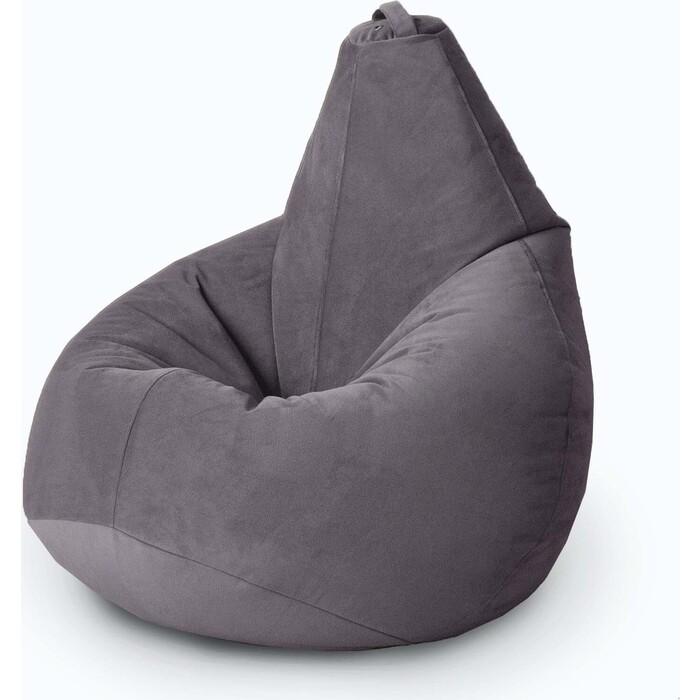 Кресло бескаркасное Mypuff Груша антрацит размер комфорт мебельный велюр bbb-472