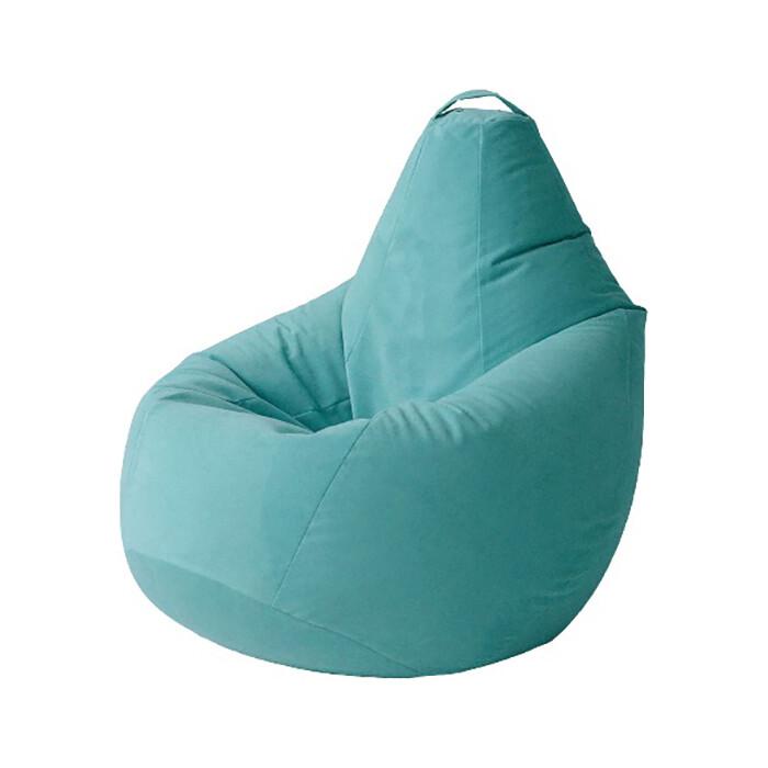 Кресло бескаркасное Mypuff Груша ментол размер комфорт мебельный велюр bbb-292