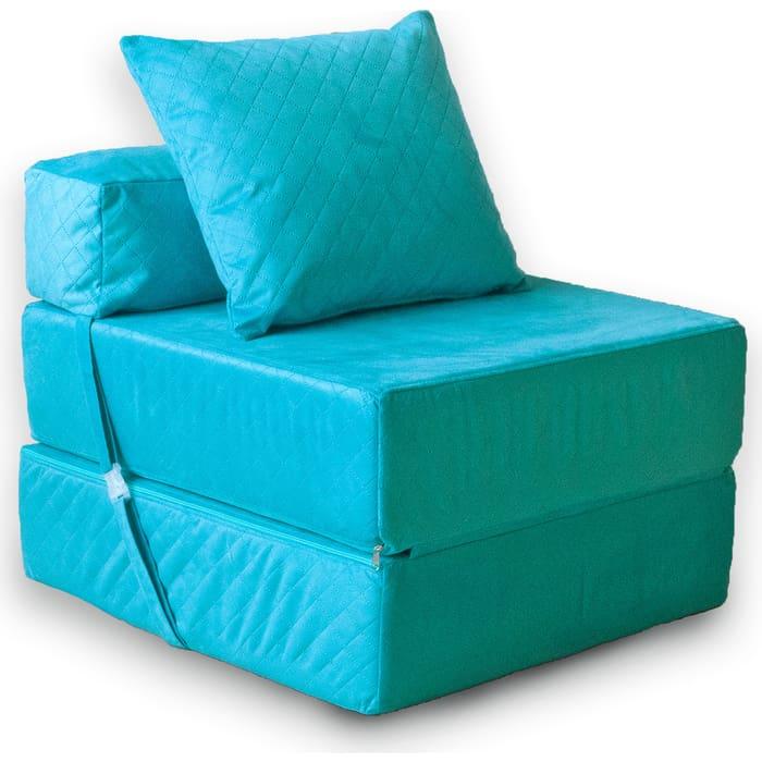 Кресло бескаркасное Mypuff Бирюза мебельный велюр kv-398-433
