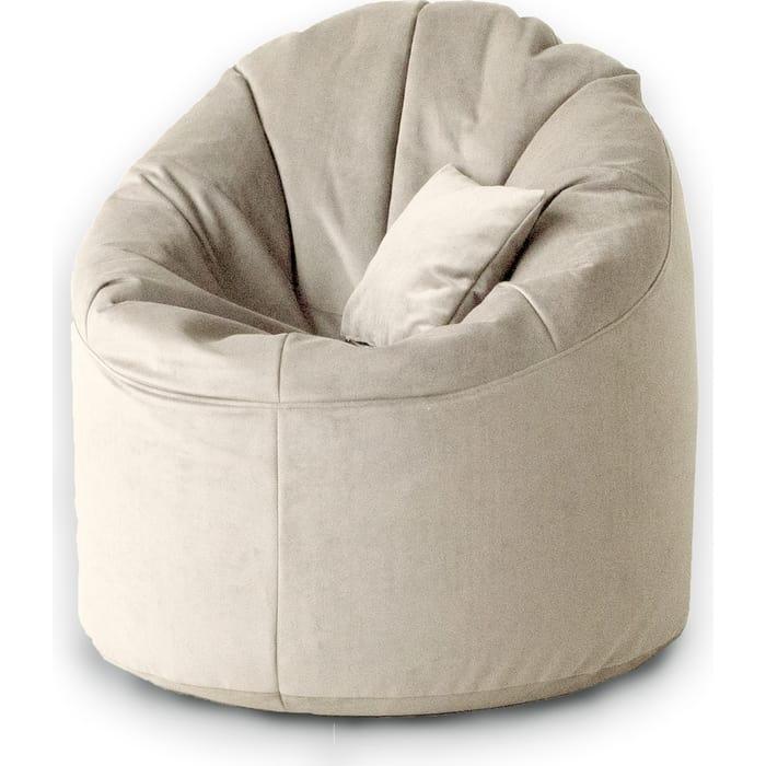 кресло бескаркасное mypuff лаунж отто бежевый экокожа l 434 Кресло бескаркасное Mypuff Лаунж латте мебельный велюр L-423