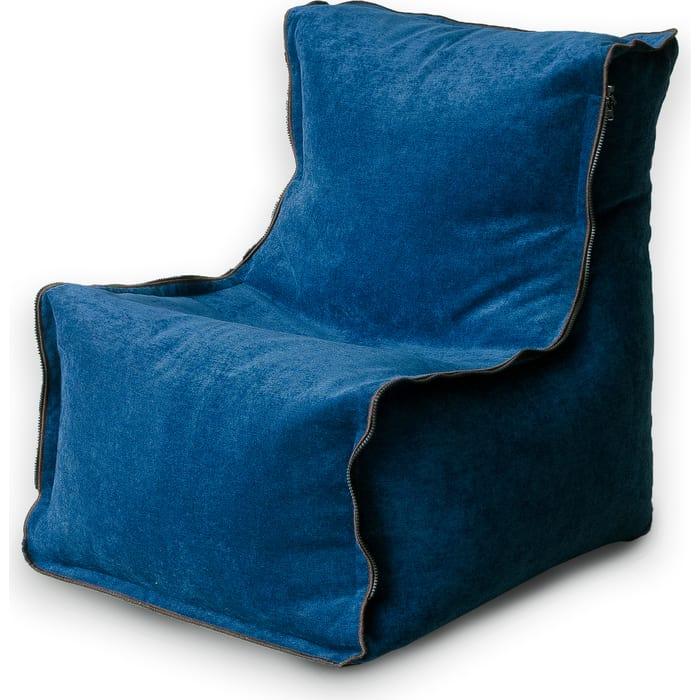 Кресло бескаркасное Mypuff Лофт-Элит синий микровельвет lf-454