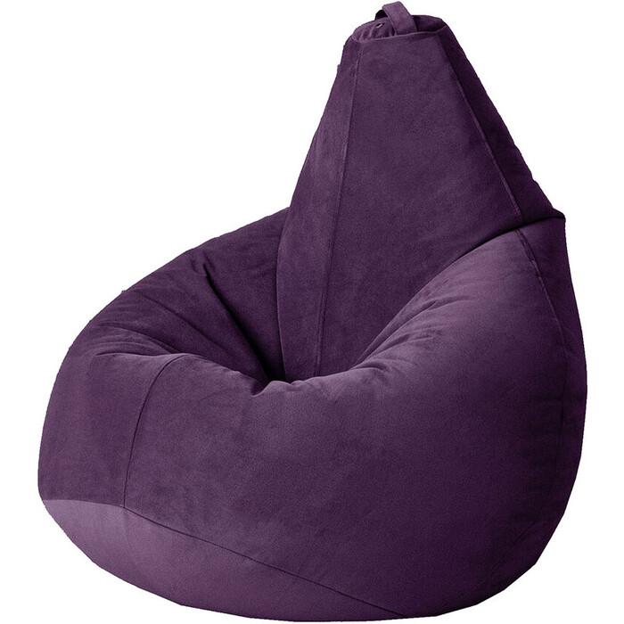 Кресло бескаркасное Mypuff Груша баклажан размер стандарт мебельный велюр b-467