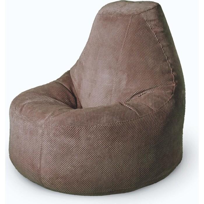 Кресло бескаркасное Mypuff Люкс какао объемный велюр bn-506