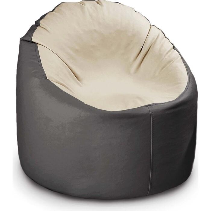 кресло бескаркасное mypuff лаунж отто бежевый экокожа l 434 Кресло бескаркасное Mypuff Лаунж отто черный с молоком экокожа L-057-056