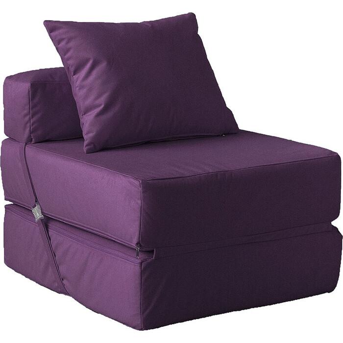 Кресло бескаркасное Mypuff Баклажан мебельный велюр kv-467