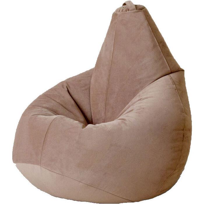 Кресло бескаркасное Mypuff Груша бежевый размер компакт мебельный велюр bm-474
