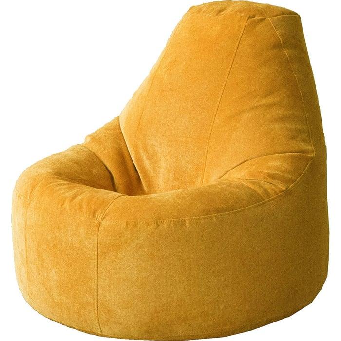 Кресло бескаркасное Mypuff Люкс желтая горчица микровельвет bn-450