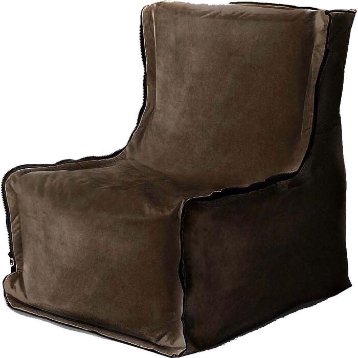 Бескаркасное кресло Mypuff Лофт горький шоколад мебельный велюр lf-424