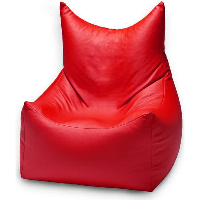 Кресло бескаркасное Mypuff Трон Вилли красный экокожа villi-055