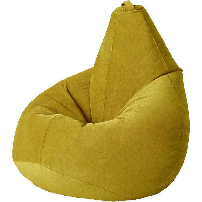 Кресло бескаркасное Mypuff Груша горчица размер компакт мебельный велюр bm-295