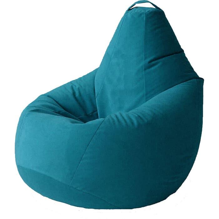 Кресло бескаркасное Mypuff Груша бирюза размер компакт мебельный велюр bm-398
