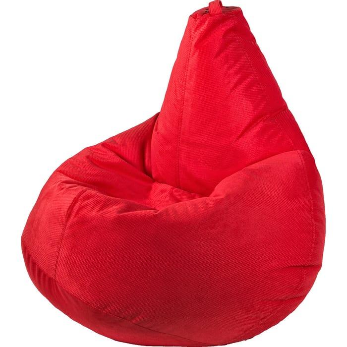 Кресло бескаркасное Mypuff Груша красный размер компакт мебельный велюр Тори bm-568