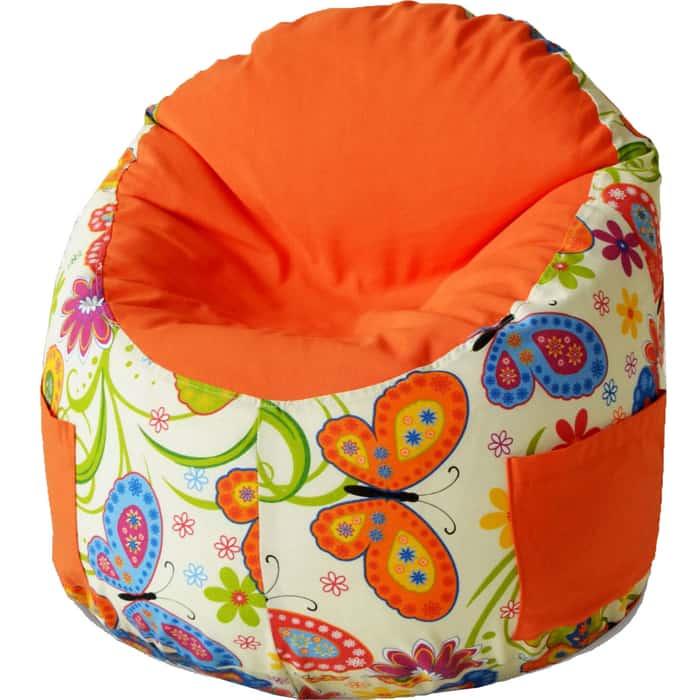 Пуфик бескаркасный для малышей Mypuff Емеля бабочки оранжевый мебельный хлопок e-208-192