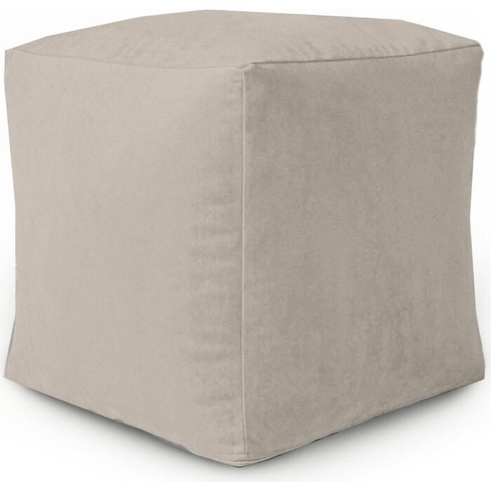 Пуфик бескаркасный Mypuff Кубик латте мебельная ткань k-423