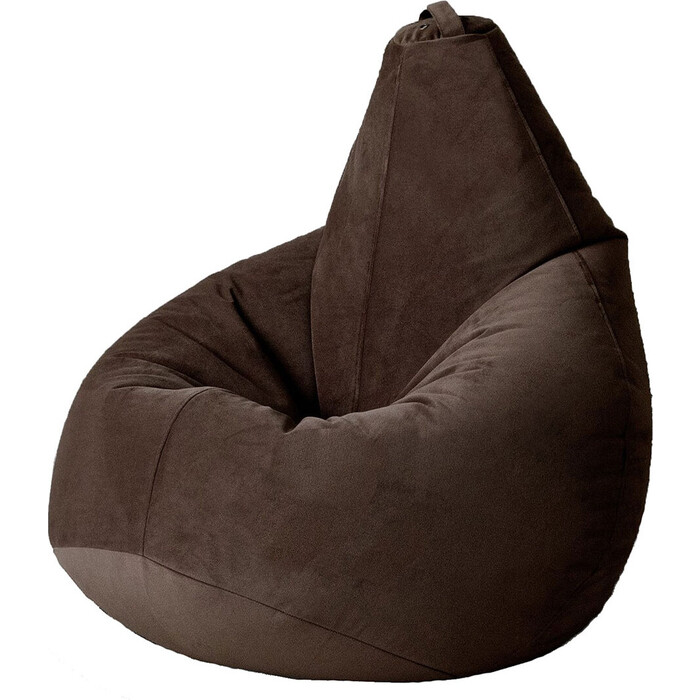 Кресло бескаркасное Mypuff Груша темный шоколад размер комфорт мебельный велюр bbb-500