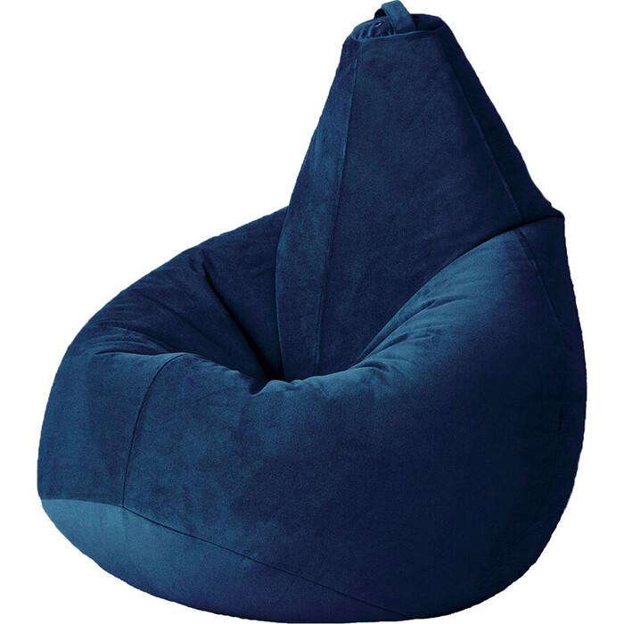 Кресло бескаркасное Mypuff Груша темно-синий размер компакт мебельный велюр bm-502