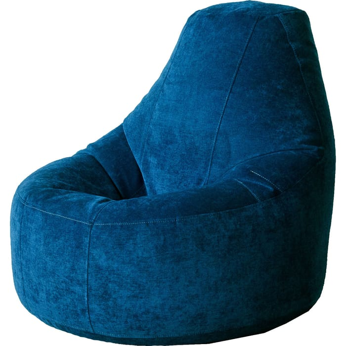 Кресло бескаркасное Mypuff Люкс синий микровельвет bn-454