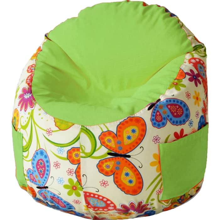 Пуфик бескаркасный для малышей Mypuff Емеля бабочки салатовый мебельный хлопок e-208-367