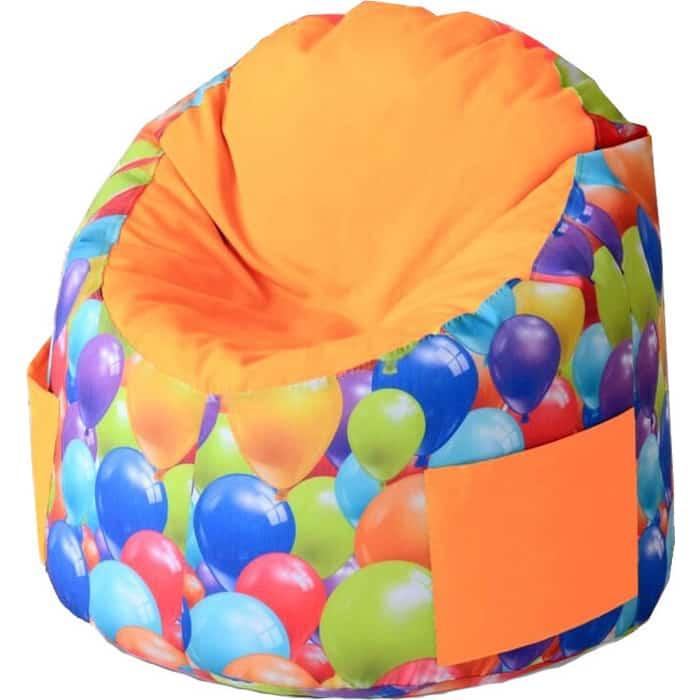 Пуфик бескаркасный для малышей Mypuff Емеля воздушные шары оранжевый мебельный хлопок e-359-364
