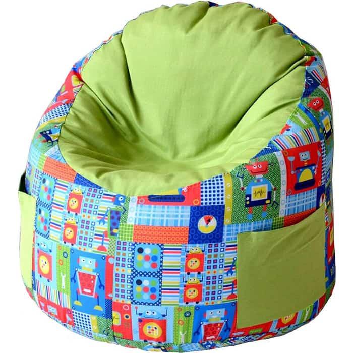 Пуфик бескаркасный для малышей Mypuff Емеля роботы салатовый мебельный хлопок e-361-367