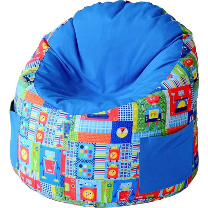 Пуфик бескаркасный для малышей Mypuff Емеля роботы синий мебельный хлопок e-361-369
