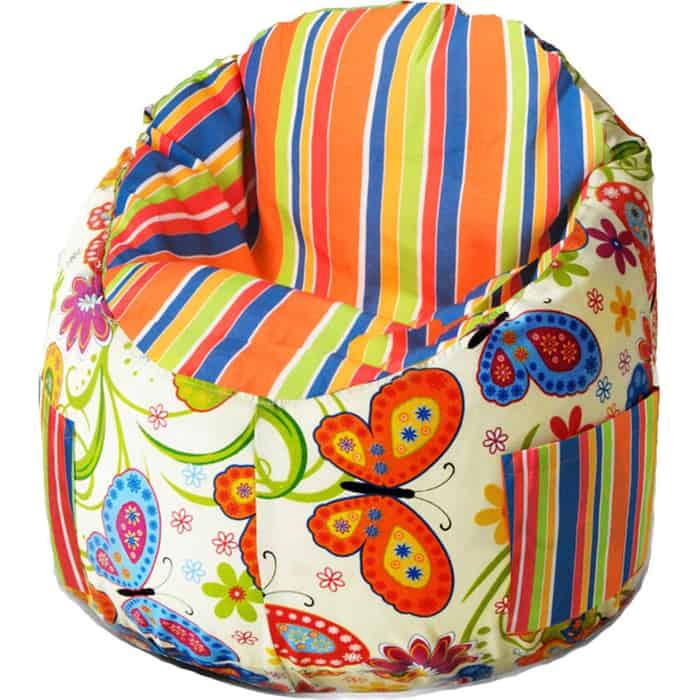 Пуфик бескаркасный для малышей Mypuff Емеля бабочки полосатый мебельный хлопок e-362-208