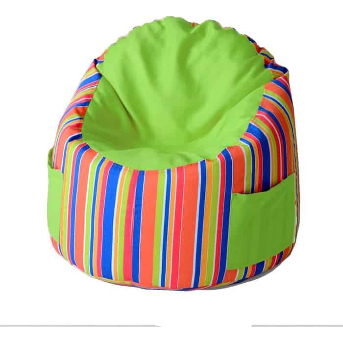 Пуфик бескаркасный для малышей Mypuff Емеля Арлекин салатовый мебельный хлопок e-362-367