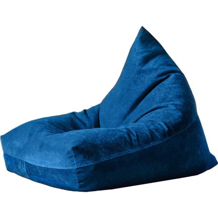 Кресло бескаркасное Mypuff Пирамида синий микровельвет h-454