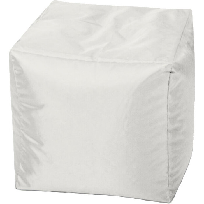 Пуфик бескаркасный Mypuff Кубик белый оксфорд k-018
