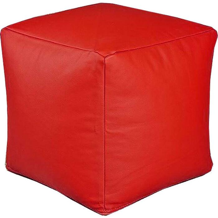 Пуфик бескаркасный Mypuff Кубик отто красный экокожа k-055