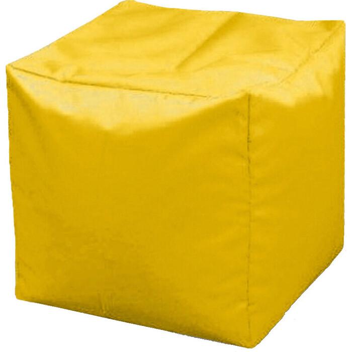 Пуфик бескаркасный Mypuff Кубик желтый оксфорд k-113