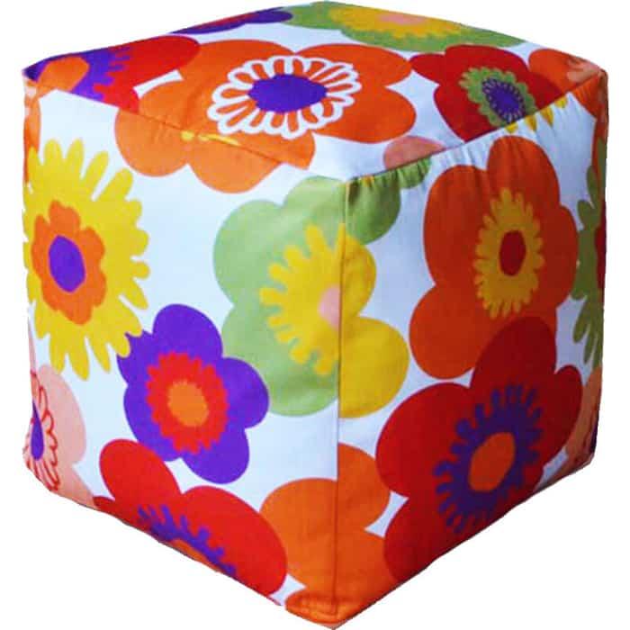 Пуфик бескаркасный Mypuff Кубик Пуэрто Плата оранжевый мебельный хлопок k-318
