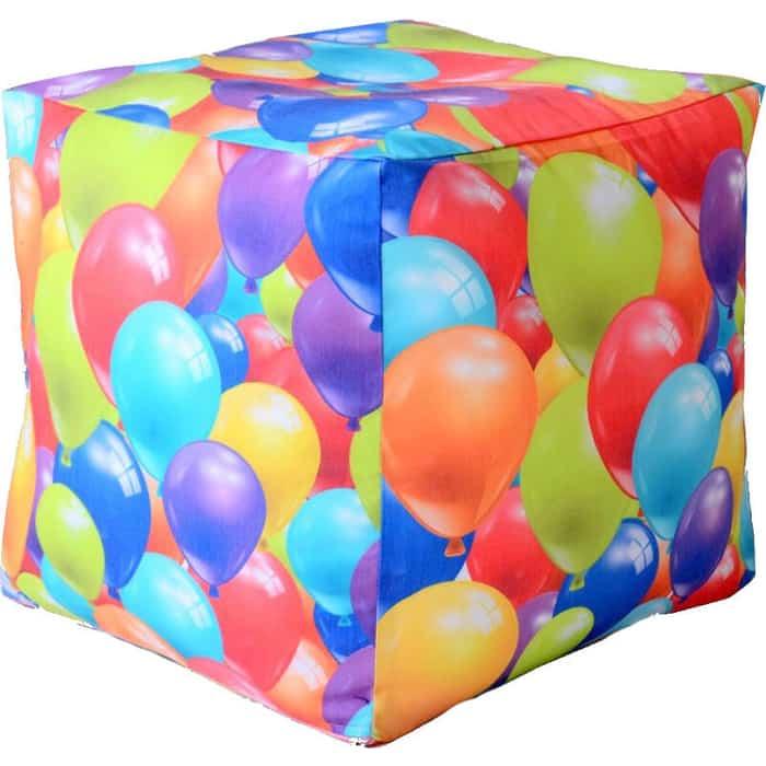 Пуфик бескаркасный Mypuff Кубик воздушные шары мебельный хлопок k-359