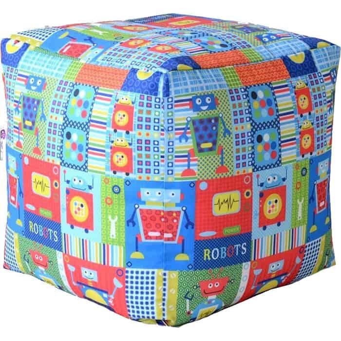 Пуфик бескаркасный Mypuff Кубик роботы мебельный хлопок k-361