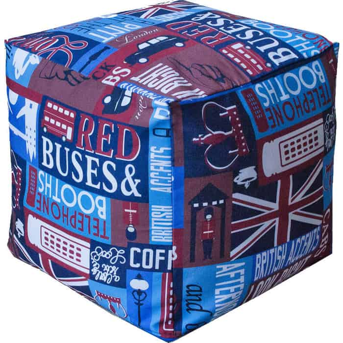 Пуфик бескаркасный Mypuff Кубик знакомый Лондон мебельный хлопок k-392